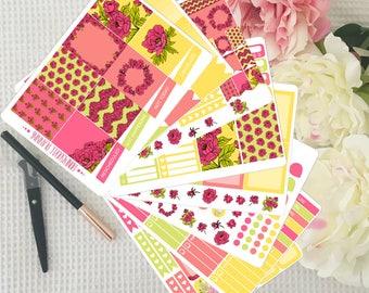 Floral Weekly Sticker Kit for Erin Condren VERTICAL