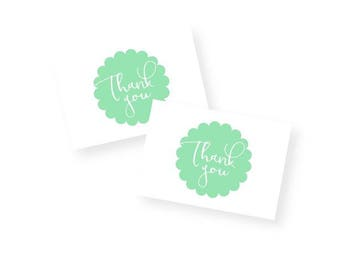 Print & Cut - Mint Scallop Thank You Tags with Handwritten Font, perfect for birthday, shower, engagement or wedding favours