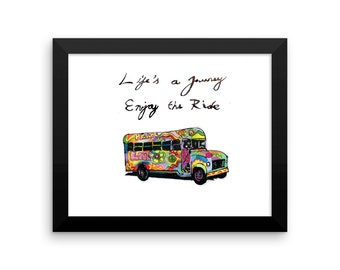 Inspirational Motivational Quote Hippy Psychedelic Bus Illustration Wall Art Digital Download