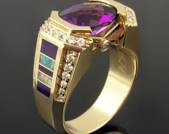 Australian opal inlay ring with sugilite, diamonds and amethyst