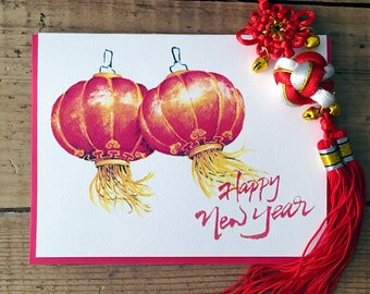 Chinese New Year Card, Chinese Lantern Card, CNY Card / Lunar Card / Lunar New Year Card / Red Lantern / Red Lanterns / New Year Card