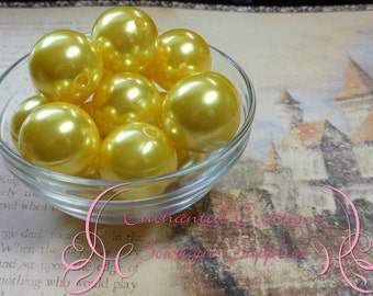 24mm Yellow Acrylic Pearl Beads Qty 6