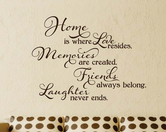 Home Is Where Loveu0027s Resides Wall Decal // Home Memories