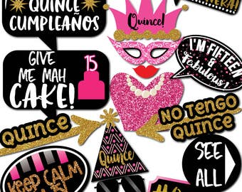 Quinceanera Sweet 15 Photo Booth Props - 33 Printable Party Props, Quince, Fifteenth, Fifteen, Dress, Tux, Cake, Mask - INSTANT PDF DOWNLOAD