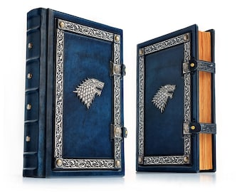 "7.5"" x 10.5"" Stark Leather Journal - 300 pages - Medieval styled book - GoT journal - Unique sketchbook - Blue leather - OOAK"