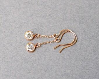 Handmade Cubic Zirconia and Rose Gold Earrings, Rose Gold Earrings, Cubic Zirconia Earrings, Wedding Earrings, Wire Earrings, E060