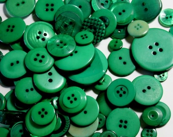Green Buttons - Bag of Assorted Size Buttons