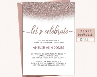 Invitation templates etsy lets celebrate invitation celebrate invitation templates celebrate invitation digital download adult birthday party invite rose gold edit maxwellsz