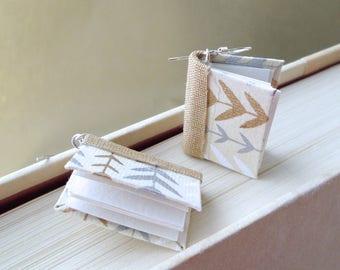 Mini Book Earrings- Petite Vines Book Earrings- silver