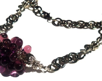 Purple Cluster and Gun Metal Necklace