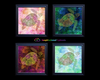 "Sea Turtles with Gold Metallic Outlines - Four 12"" x 12"" HD Digital Prints"