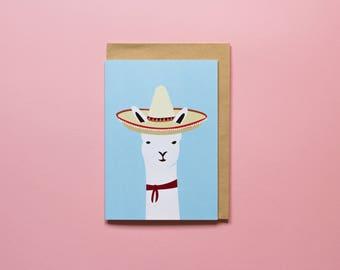 Mexican Llama - Greeting Card