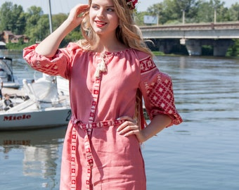 Linen Embroidered Dress /  Ukrainian Vyshyvanka  Dress /  Women dress