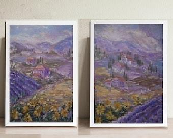 Provence, Flower Fields. Diptych. Lavender, Sunflowers. Original oil painting.Provence Painting. Landscape Mountain. landscape Provence.