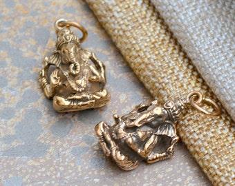 Natural Bronze Ganesh Charm Pendant, Handmade Golden Four Arm Ganesha, Antiqued Lord Ganesh Pendant, Hindu Elephant God Pendants, BS17-1023