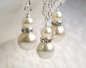Set of Seven 7, Bridesmaid Jewelry set of 7 Ivory Swarovski Pearl Rhinestone Jewelry, Bridesmaid Gift Set of 7, Wedding Party Jewelry