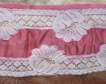 "A34 Vintage Silk Pink Lace Edging Salvage Floral 45"" Around Trim Lingerie Repair"