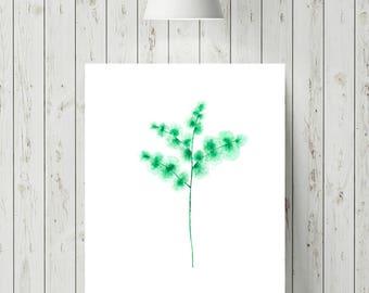 Green Flower Prints, Botanical Flower Art Print, Modern Home Decor, Minimalist Wall Art, Watercolour Flower Print