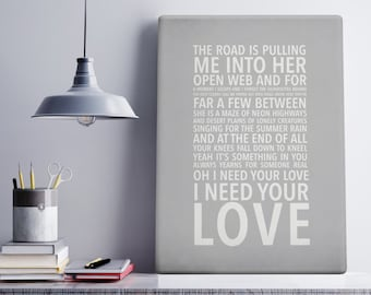 First Dance Lyrics Personalised Canvas Print, Wedding Gift  (any song/colour)