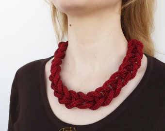 Red Necklace Red Bib Necklace Statement Necklace Bead Necklace Bridesmaid Gift Ideas 30th Birthday Gift For Her Red Jewelry Wine Necklace