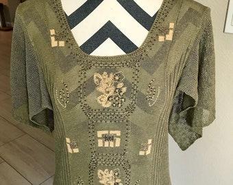 Vintage 1990s Olive Green Tribal Print Bohemian Gypsy Hippie Psychedelic Dress Top Sz S