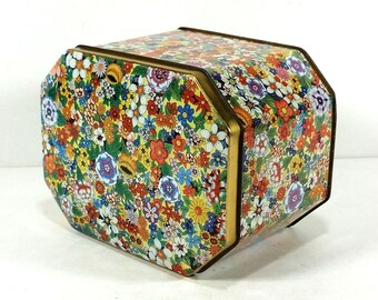 Colorful Flowerful Vintage 8-sided Tin by Daher