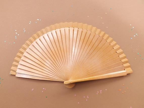 Peach Ombre Glitter FANtasy Range Hand Fan READY to SHIP Handheld Folding Wooden Fabric Fan Sparkles Confetti
