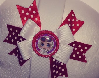 LOL Leading Lady Red & White  Hair Bow  White Fabric  Covered  Plastic Headband