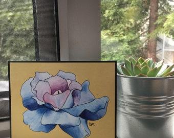 Blue Watercolor Flower Print