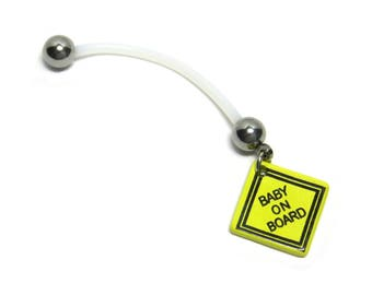 Baby On Board Sign Flexible Pregnancy Belly Button Ring