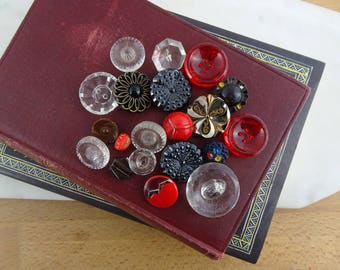 Lot of Vintage Black, Red & Clear Glass Buttons with Gold Accents 19 Buttons