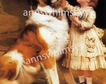 Nursery Art, Dog Art,  Little Girl's Room Art, Gift for Dog Lover , Gift for St. Bernard Lover, Restored Antique Art   #177