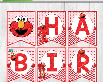 Elmo Birthday Banner Printable, Red Elmo Party Printable, Sesame Street Birthday, 1st Birthday, Elmo Alphabet Banner, Name Banner Printable