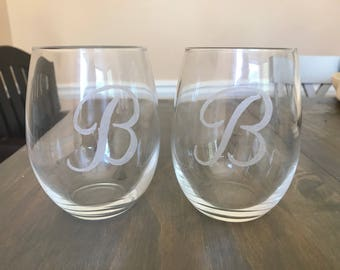 Personalized Etched Stemless Wine Glass