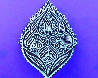 Hand Carved Abstract Leaf Paisley Wood Pottery Stamp Textile Fabric Clay Indian Print Block