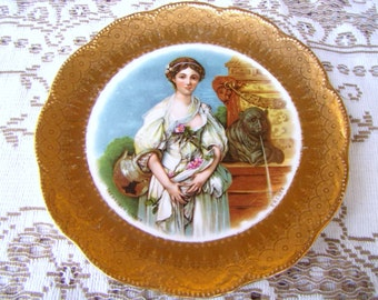 Commemorative Gilded Gold Victorian Plate  Commemorating 1907 Triennial