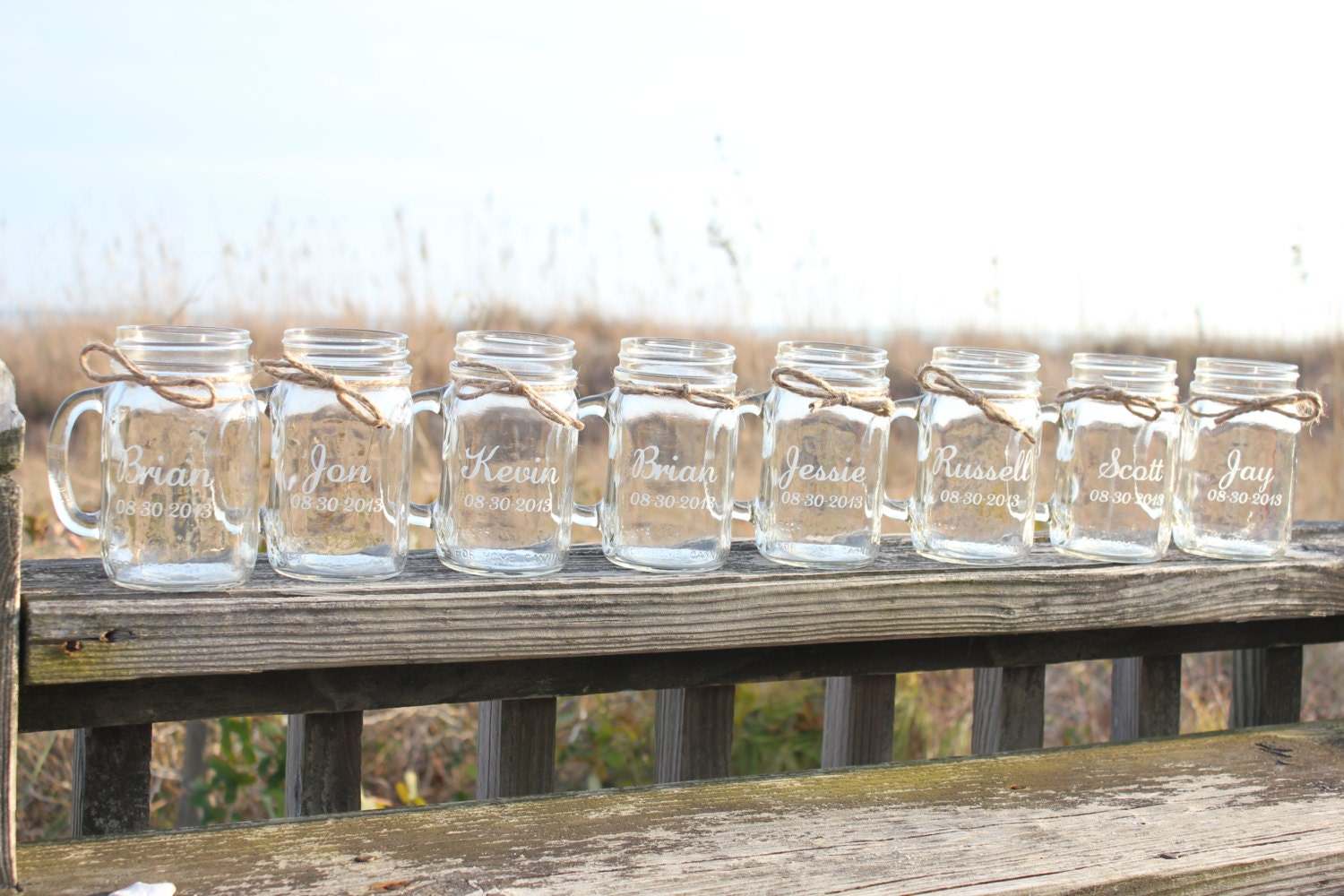 11 Mason Jar Mugs Personalized Engraved Mason Jar Mugs