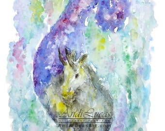 Original signed watercolor watercolour painting nursery fantasy art capricorn zodiac goat illustration