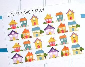 Planner Stickers Cute House for Erin Condren, Happy Planner, Filofax, Scrapbooking