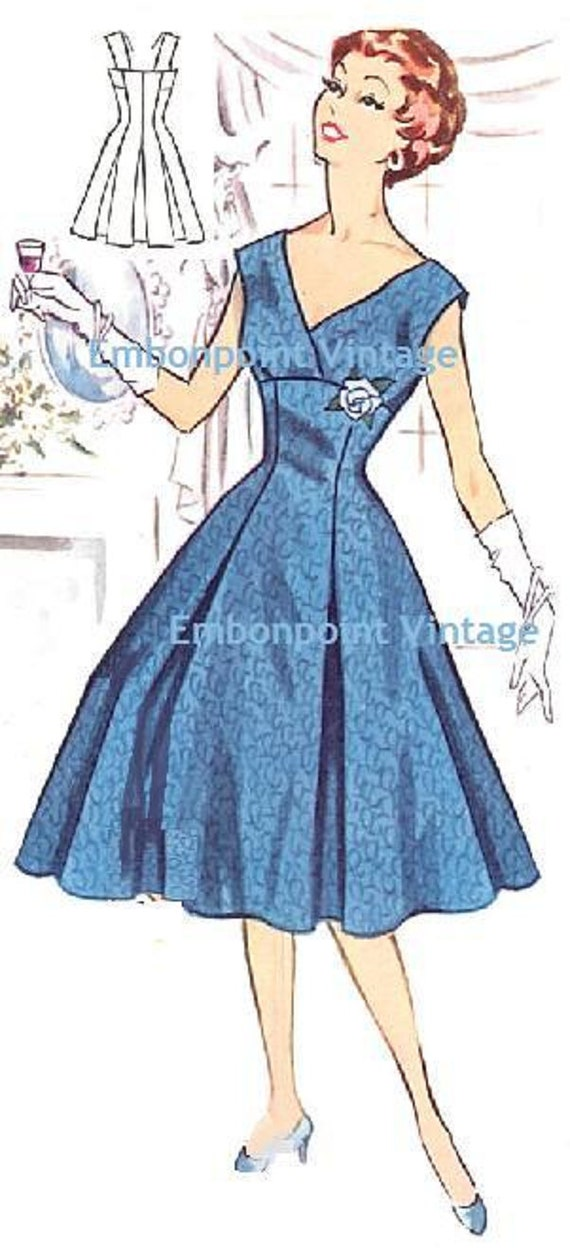 Plus Size or any size Vintage 1950s Evening Dress Pattern