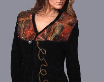wearable art black jacket with semi precious stones and needle felting