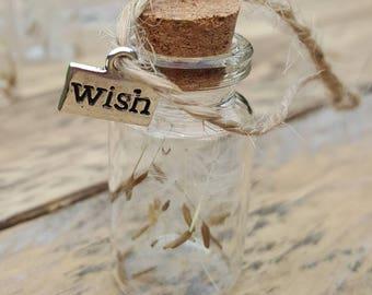 Dandelion wish charm bottle