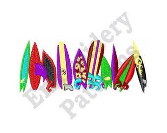 Beach Surfing Boards - Machine Embroidery Design - 4 X 4 Hoop, Summer, Beach, Vacation, Tropical, Surfboard, Water Sport