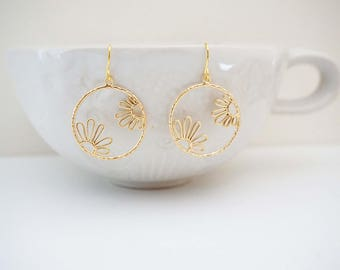 Matte Gold Floral Hoop Earrings