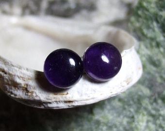 Deep Purple 8mm Round Natural Amethyst Stud Type Earrings Earings Titanium Hypo Allergenic Handmade in Newfoundland Rich