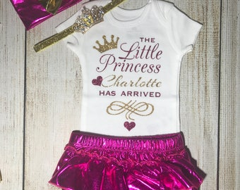 Baby Girl Coming Home Outfit in hot pink and gold - Little Princess Outfit - Personalized Newborn Outfit - Newborn Photos - Newborn Photos