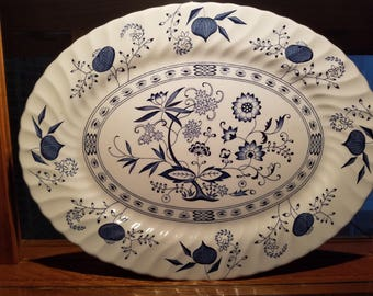 Blue Nordic Ironstone Platter by Johnson Brothers