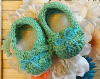 0-3 Month~Crochet Baby Girl Ballet Shoes~ Green and blue crochet ballet shoes infant shoes baby girl shoe baby girl gift baby shower gift