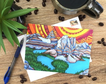Card – Assiniboine – Rocky Mountains – Blank Card – Envelope Included – Recycled Paper – Colourful – Art
