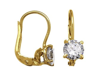 18k solid yellow gold lever-back hoop earrings(15mm)